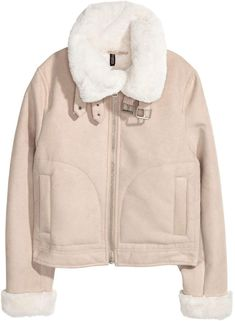 Imitation suede jacket with a soft faux fur lining and a faux fur collar with a tab and metal buckle. Zip down the front, side pockets and faux fur cuffs. Fur Collar Jacket, Faux Fur Collar, Suede Jacket, Fur Collars, H&m Jackets, Line Jackets, Outerwear Jackets, Jackets For Women, Winter Wardrobe Essentials