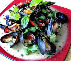 Thai Mussels Simmered a Basil-Coconut Sauce
