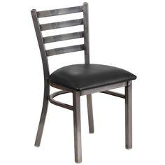 Hercules Series Clear Coated Ladder Back Metal Restaurant Chair - Black Vinyl Seat, Black/Clear