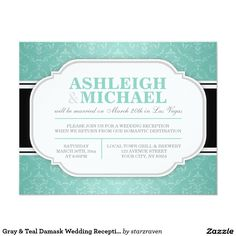 Gray & Teal Damask Wedding Reception ONLY