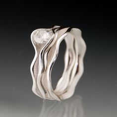 Moissanite Wave Wedding Ring by NodeformWeddings