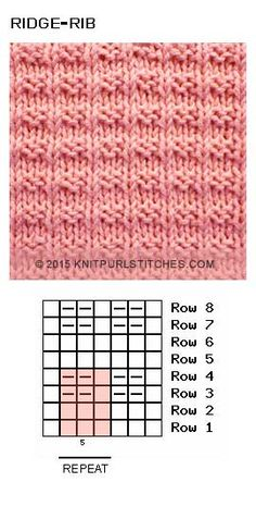 Ridge Rib stitch Free knit and purl chart Ridge Rib stitch Free knit and purl chartEasy textured Reverse Ridge Knit Stitch Pattern is reversible and super stretchy vertically. Rib Stitch Knitting, Knit Purl Stitches, Knitting Stiches, Crochet Stitches Patterns, Knitting Charts, Loom Knitting, Knitting Patterns Free, Free Knitting, Stitch Patterns