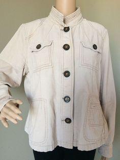 5338ecc38ae8b Relativity Women s Button Front Jacket Military Collar Lightweight Cotton  Blazer  Relativity  Blazer  Casual