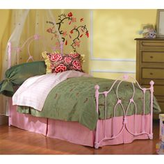 Painted iron bed frame. Cute!!