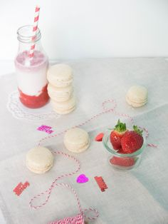 Vanille-Macaron, Erdbeer-Milkshake
