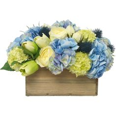 Diane James Mixed Blue & Green Bouquet in Wood Planter (27,465 PHP) ❤ liked on Polyvore featuring home, home decor, floral decor, flowers, fake flower arrangement, aqua silk flowers, wood flower planters, fake flowers and flower bouquet