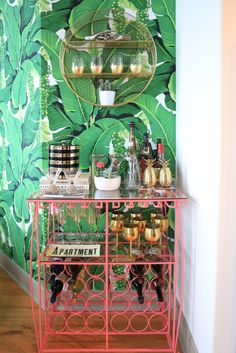 Apartment Reveal: The Bar Is Open & Theres Never a Last Call! KERRently by Home Deco Apartment Bar bold print wallpaper bedroom Call KERRently open Reveal Diy Bar Cart, Gold Bar Cart, Bar Cart Styling, Bar Cart Decor, Bar Carts, Tropical Kitchen, Pink Bar, Outside Bars, Bachelorette Pad
