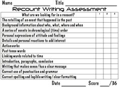 Writing Assess Recount (word doc)