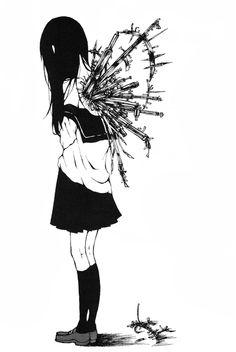 manga, anime, and black and white image Got Anime, Anime Manga, Anime Art, Manga Girl, Sad Anime Quotes, Manga Quotes, Anime Triste, Photo D Art, Dark Quotes
