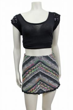23.05$  Watch now - http://visuf.justgood.pw/vig/item.php?t=xsqfnc49536 - NWOT Staring at Stars Urban Outfitters Black Gray Tribal Woven Fringe Skirt sz M 23.05$