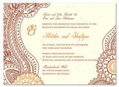 Indian Paisley Wedding Invitation