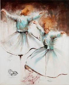 Sufi's Mystical Journey To Be Explored At 'Spirituality In Motion' Exhibition During Art Dubai. The 'Spirituality In Motion' exhibition will showcase selected artworks by Hossein Irandoust - Dancing Drawings, Art Drawings, Painting Collage, Painting & Drawing, Islamic Paintings, Dance Paintings, Turkish Art, Islamic Art Calligraphy, Egyptian Art