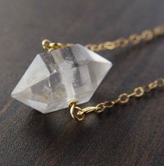 Etsy の Herkimer Diamond Gold Necklace by friedasophie