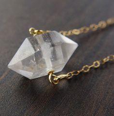 ON SALE Herkimer Diamond Gold Necklace by friedasophie on Etsy
