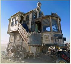 Victorian on wheels (in celebration of San Francisco). Burning Man Festival. September 2011. This is the 25th year of the festival which began in Baker Beach in the San Francisco Bay area and now takes place in the Nevada desert. 40,000 to 50,000 people are expected to attend. (photo. Seekingfocus.com)