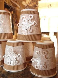 Love these sleeves for paper coffee cups - hot chocolate bar at a winter wonderland party