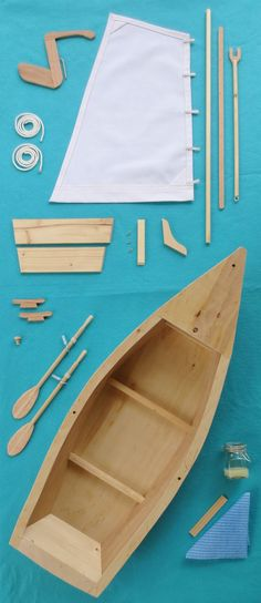 Wood Skiff Sailboat Model Kit, for American Girl, 18 Inch Dolls with Hand-Carved Oars, Canvas Sail and Lines