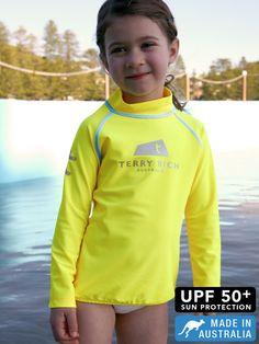 9609117465e yellow pop! kids UV swim shirts by terry rich australia. Kids Swimming