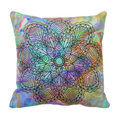 Colorful Bohemian Chic Mandala Flower Pattern Throw Pillow - floral style flower flowers stylish diy personalize