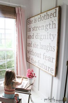 Avas Room Sources: White lace flower vase/pencil holder- Ikea Strength & Dignity Wall Art- House of Belonging Bamboo Blinds- Lowe's  Curtains- handmade by my sweet mom Teenage Girl Bedrooms, Girls Bedroom, Bedroom Ideas, Curtains, Signs, Home Decor, Bedroom Girls, Homemade Home Decor, Blinds