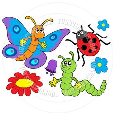 Cartoon Insect Bug and Flower Collection