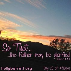 Big Red Sofa: Day 20: The Father may be glorified | Holly Barrett