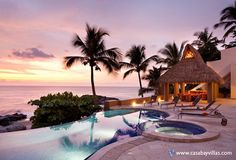 CASA GUILLERMO - Ideal luxury villa for hosting large wedding celebrations, corporate events or just getting together with family or friends.  This Puerto Vallarta beachfront vacation villa is located directly on Conchas Chinas beach where million dollar villas sparkle in the sun like precious diamonds. This breathtaking Mexico villa rental featuring over 11,000 square feet of luxury villa living directly on the beach.
