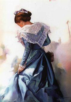 Danièle Raspini.Les arlésiennes Art Aquarelle, Watercolor Art, French Costume, Winter Fairy, Folk Fashion, French Artists, Figurative Art, Deco, Female Art
