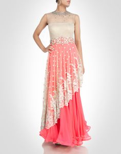 net gown with ivory tint floral work.  Shop Now: www.kimaya.in