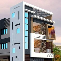 Top 30 Most Beautiful Houses Front Designs 2019 - Engineering Discoveries Narrow House Designs, Modern Exterior House Designs, Exterior Design, Modern House Design, Latest House Designs, House Outer Design, House Outside Design, House Front Design, 3 Storey House Design