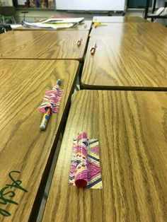Duct tape STRAWS to desks to hold PENCILS.  Via @crafty morning