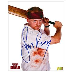 Simon Pegg Autographed Shaun of the Dead 8x10 Zombie Attack Photo @ niftywarehouse.com #NiftyWarehouse #Zombie #Horror #Zombies #Halloween