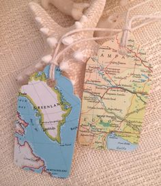 Map Tag Travel Gift Tag Vintage Tag Travel Wedding by StudioToto on Etsy