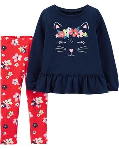 a8e631377 Baby Girl 2-Piece Kitty French Terry Top & Floral Legging Set | Carters