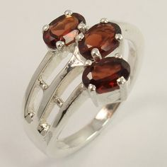 Amazing Ring Size US 6 Natural GARNET January Birth Gemstone 925 Sterling Silver #Unbranded