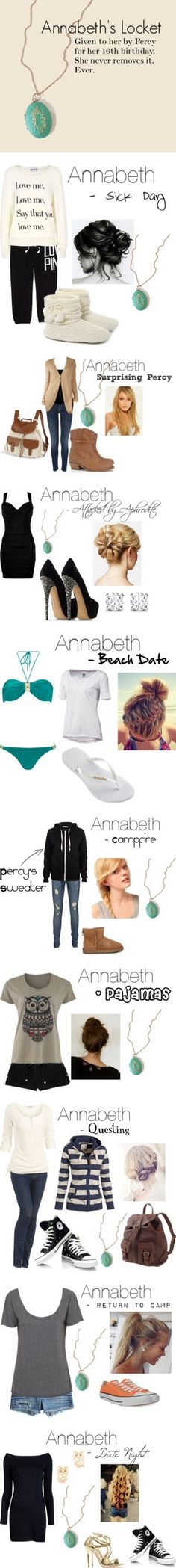 Annabeth's wardrobe- so cool and accurate :) love the necklace part!