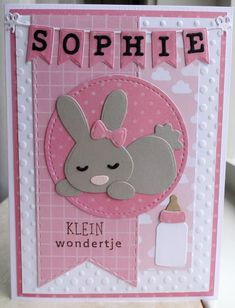 Diy Cards Baby, New Baby Cards, Baby Shower Cards, Birthday Cards For Women, Handmade Birthday Cards, Diy And Crafts, Paper Crafts, Bunny Birthday, Marianne Design