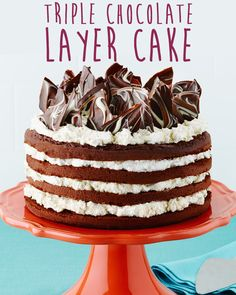 Triple Chocolate Layer Cake #recipe #dessert