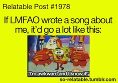 If LMFAO wrote a song about me, it would go a lot like this: I'm awkward an I know it
