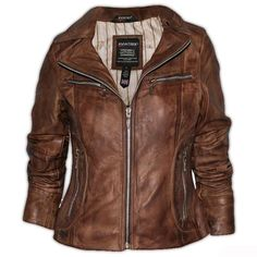 Ladies Brown Leather Jacket   Clothes, Shoes & Accessories > Women's Clothing > Coats & Jackets