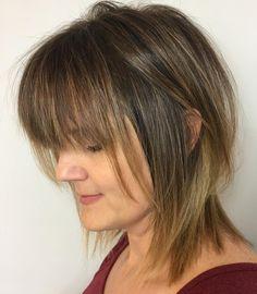 Wispy Shag with Bangs for Fine Hair Medium Haircuts With Bangs, Haircuts For Thin Fine Hair, Cute Hairstyles For Medium Hair, Medium Hair Cuts, Medium Hair Styles, Shaggy Haircuts, Medium Curly, Medium Layered, Layered Hair