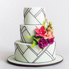 Modern black and white cake