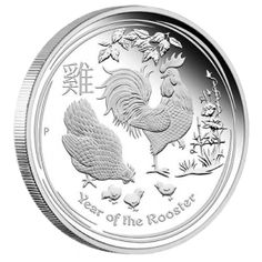 """The Perth Mint has released the first of the 2017 """"Year of the Rooster"""" silver coins in the 1 ounce size. Minted as part of the Australian Silver Lunar Coin Series, these coins have limited worldwide mintages and a new design each year representing the ancient Chinese Lunar Calendar. These magnificent coins are struck in .999 fine silver and each one comes encapsulated in a hard, plastic case."""