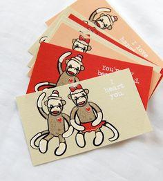Sock Monkey Love Cards - Eco-friendly Set of 8