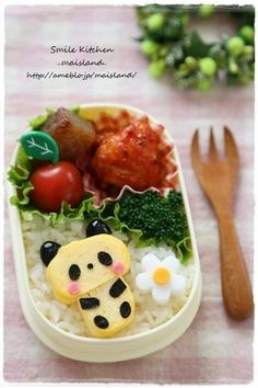 Cute tamagoyaki panda bear bento box