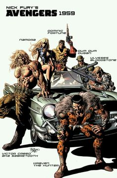 New Avengers Cover: Kraven the Hunter, Sabretooth, Dominic Fortune, Dum Dum Dugan, and Others by Mike Deodato Marvel Comics Poster - 61 x 91 cm Arte Dc Comics, Marvel Comics Art, Marvel Comic Books, Marvel Heroes, Comic Books Art, Captain Marvel, Comic Book Artists, Comic Book Characters, Mike Deodato Jr