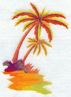 Lot of 2 Fuchsia Pink Tropical Beach Palm Tree Embroidery Applique Patch