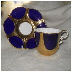 Vintage Fluted Aynsley Encrusted Gold and Cobalt Teacup and Saucer. English China Tea Cup & Saucer.