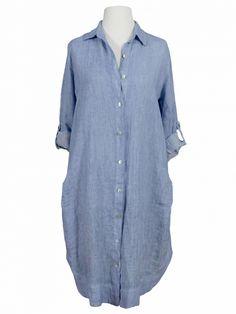 Damen Longbluse Leinen, blau von Miho's bei www.meinkleidchen.de