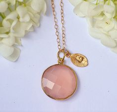 maid of honor gift with her birthstone and initial  Personalized Large Natural Pink Quartz Vermeil by DaniqueJewelry
